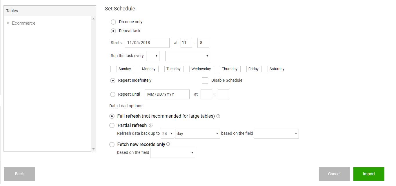 Dataset Schedule