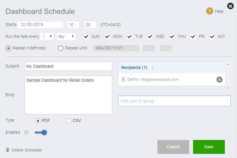 dashboard schedule popup