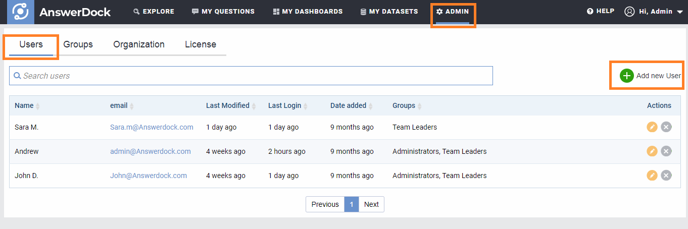 users management page