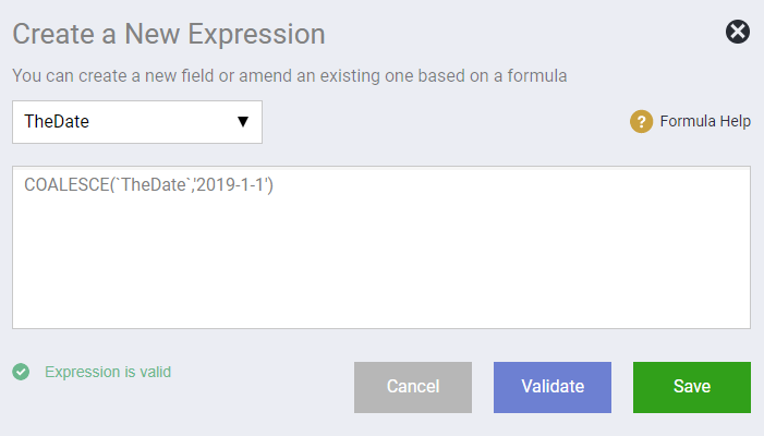 New Expression Existing Field